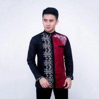 Baju Kemeja Koko Pria New Kombinasi Bordir Warna Merah Maron dan Hitan - B, M