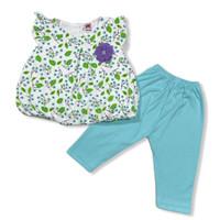 Baju Kerut Setelan Anak Perempuan Bahan Katun 6-12 Bulan Motif Bunga - Biru