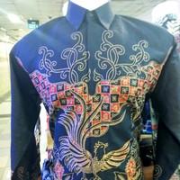 Baju Kemeja Batik Pria Panjang Kultur Etnik Burung Merak Hitam XXL