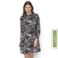 Agrapana Dress Batik Modern Wanita Baju Batik Couple Tunik Rajata - Hitam, M
