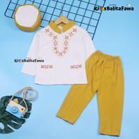 Baju Koko Alif uk Bayi - 2 Tahun / Setelan Muslim Anak Laki Cowok Baby - Bayi 6-12 Bulan, Mustard