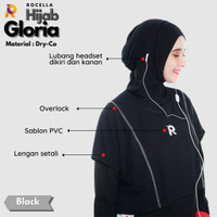 Jilbab / Hijab Olahraga Instan Syar'i Menutup Dada Jilbab Sport Jersey - Hitam