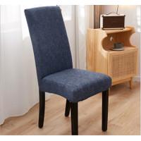 Elastic Chair Cover Plain / Penutup Sarung Kursi Bangku Elastis - Grey Grid