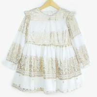 Dress lengan panjang anak branded original wiglees putih motif emas