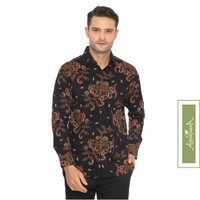 Agrapana Kemeja Batik Print Adwitiya Lengan Panjang Hitam