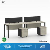 Meja Kerja Kantor Sejajar 2 Orang + Pedestal