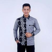 Baju Kemeja Pria Kombinasi Prada Perak Model Casual Modern Murah Laris - D, M