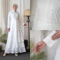 AGNES Baju Gamis Putih Wanita Brukat Busana Muslim Lebaran Pesta 820