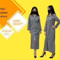 Baju gamis wanita kotak maxy dress katun kancing depan full kerah cewe