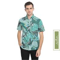 Agrapana Baju Kemeja Batik Slimfit Slim Fit Pria Lengan Pendek Bayu