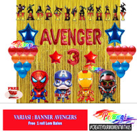Paket Ultah Anak Laki tema Avengers - Tirai Gold, Banner