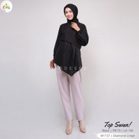 Baju Wanita Muslimah Atasan Top Blus Modern Chic Dress Blouse Swan 1.4 - Black