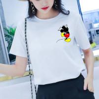 Kaos Wanita Oversize Mickey Mouse Pocket XXL XL L M - Putih, S