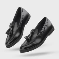 Sepatu Pria Formal Slip On Pantofel Giant Flames Porto Black