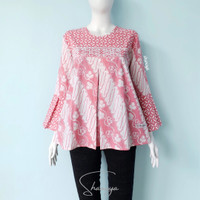 Blouse Fara batik shanaya cap pink model pias baju kantor - navy A, XS