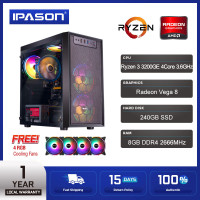 IPASON AMD Ryzen 3 3200GE /Radeon Vega 8 Gaming PC Desktop Computer