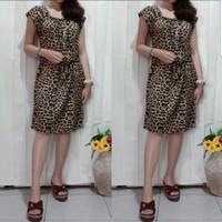 Baju wanita dress mini kupu motif macan