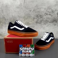 Sepatu Vans Old Skool Classic Black gum Hitam Sol coklat Ori Premium