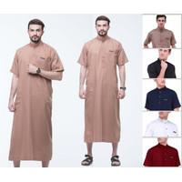 Baju Gamis Jubah Pria Warna Coklat Bahan Toyobo Fodu adem di pakai