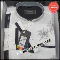 Baju Koko Almia Platinum lengan panjang warna putih motif elegan ASLI