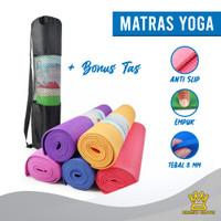 Matras Yoga BONUS TAS Karpet Gym Olahraga/ Tebal 8mm Size 61x173 cm