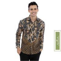 Agrapana Baju Batik Slimfit Pria Lengan Panjang Premium Danadyaksa - Abu-abu, XXL