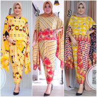Setelan Kebaya Batik Modern SEIKHA QUEEN Katun Paris warna kuning