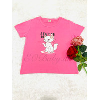 Baju T-shirt Anak Pink Motif Cat Kucing EOBaby G11 - 105