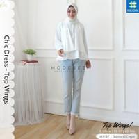 Baju Wanita Muslimah Modern Atasan Top Wings Chic Dress Blus Blouse 13 - Broken White
