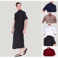 Baju Gamis Jubah Pria Warna Coklat Bahan Toyobo Fodu adem di pakai - Hitam, S