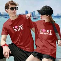 HN - Baju Kaos Couple Lengan Pendek Love Husband Love Wife