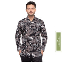 Agrapana Baju Batik Pria Lengan Panjang Kemeja Batik Pria Hem Rajata - Hitam, XL