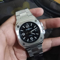 Jam Tangan Automatic Bell & Rose Chain Silver Dial Black 40mm