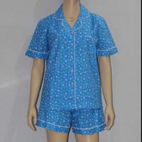 baju tidur dewasa little flower kerah sabrina/cln seksi royal blue