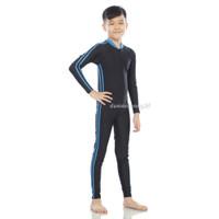 Baju Renang / Diving / swimsuit anak SD panjang unisex cewe/cowo - Biru, L