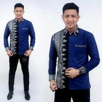 Baju Kemeja Pria Modern Lengan Panjang Motif Gunungan Prada Perak MLXL - D, M