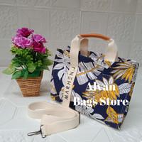 tas marhen j / tas selempang jinjing bunga kanvas/tas selempang wanita