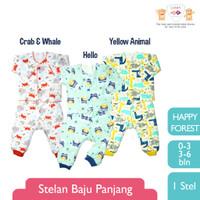 LIBBY (1 STEL) Stelan Baju Panjang Newborn Happy Forest