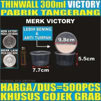 Thinwall 300ml Per Dus Mangkok Bowl Bulat Rata Plastik Cup Salad Buah