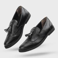 Sepatu Pria Formal Slip On Pantofel Pria Giant Flames Tomio Black