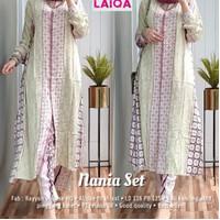 New Nania Set Setelan Celana Rayon Wanita Baju Hangout Santuy Modis