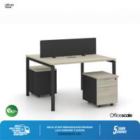 Meja Kerja Kantor Berhadapan 2 Orang + Pedestal