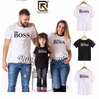 Baju/Kaos Couple keluarga motif BOSS bahan Combed 30's murah