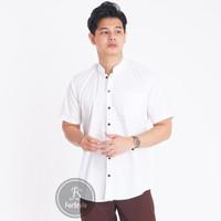 Baju Kemeja Lengan Pendek Kerah Shanghai Pria Putih Polos Slimfit - Putih, M