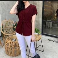 Lidia Blouse Baju Atasan wanita Terbaru 2021 Kekinian Viral - Merah