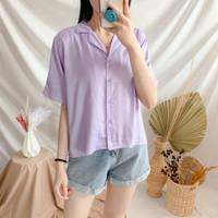 Premium Oversized Plain Warren Rayon Shirt Kemeja Polos Wanita Casual