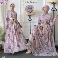 Baju Gamis Wanita Muslim Terbaru Homedress Motif Bunga flora Warda