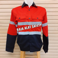 Baju Atasan Kerja Safety Proyek / Seragam Tambang K3 Kombinasi Merah