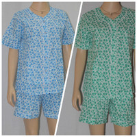 baju tidur/piyama wanita motif jasmine flower celana atas lutut - Biru Muda, S