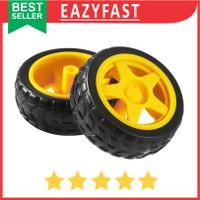 Roda Ban Robot Mobil Motor Dinamo DC Gearbox Yellow Kuning Mini Wheel